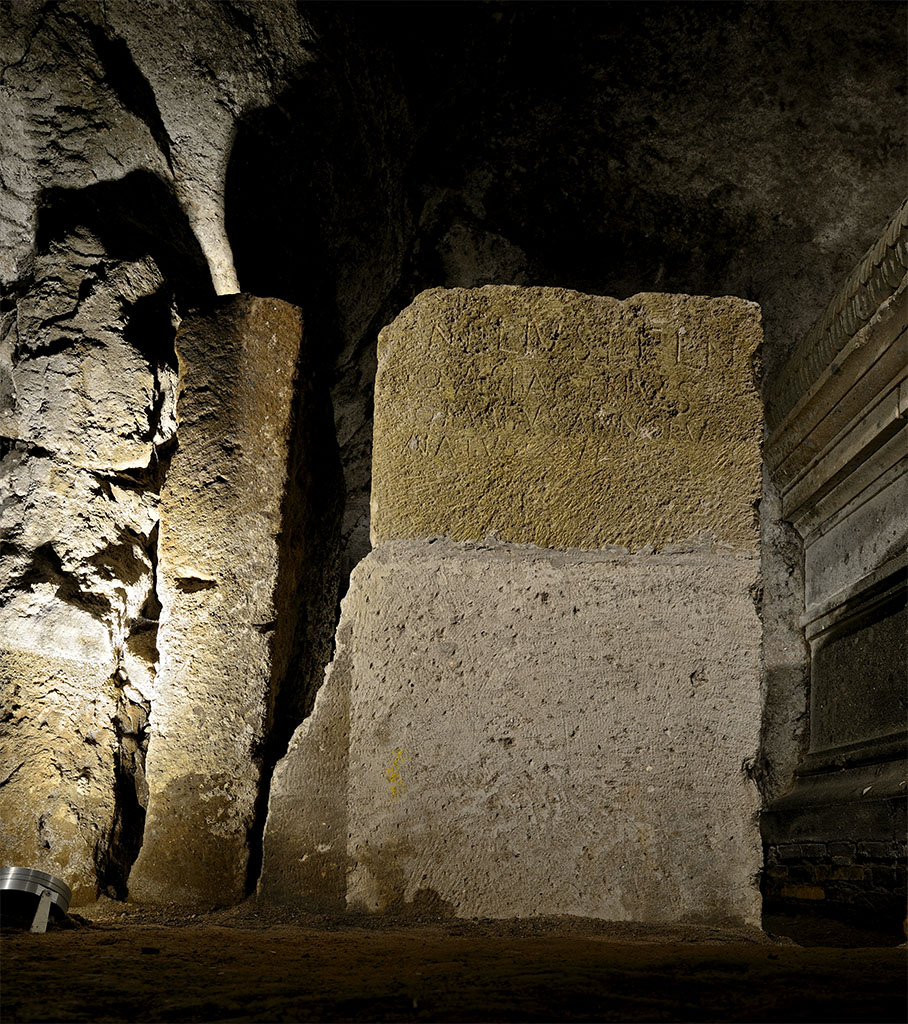 Remains of the sarcophagus of Cornelius Scipio Asiagenus Comatus.  Tufa. Rome, Tomb of the Scipios