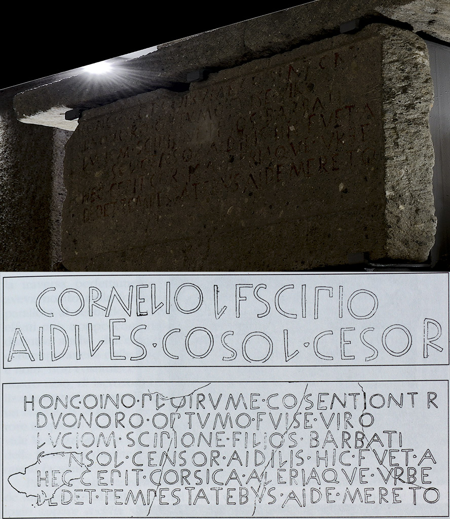 Inscription on the sarcophagus of Lucius Cornelius Scipio, son of Barbatus.  Rome, Tomb of the Scipios