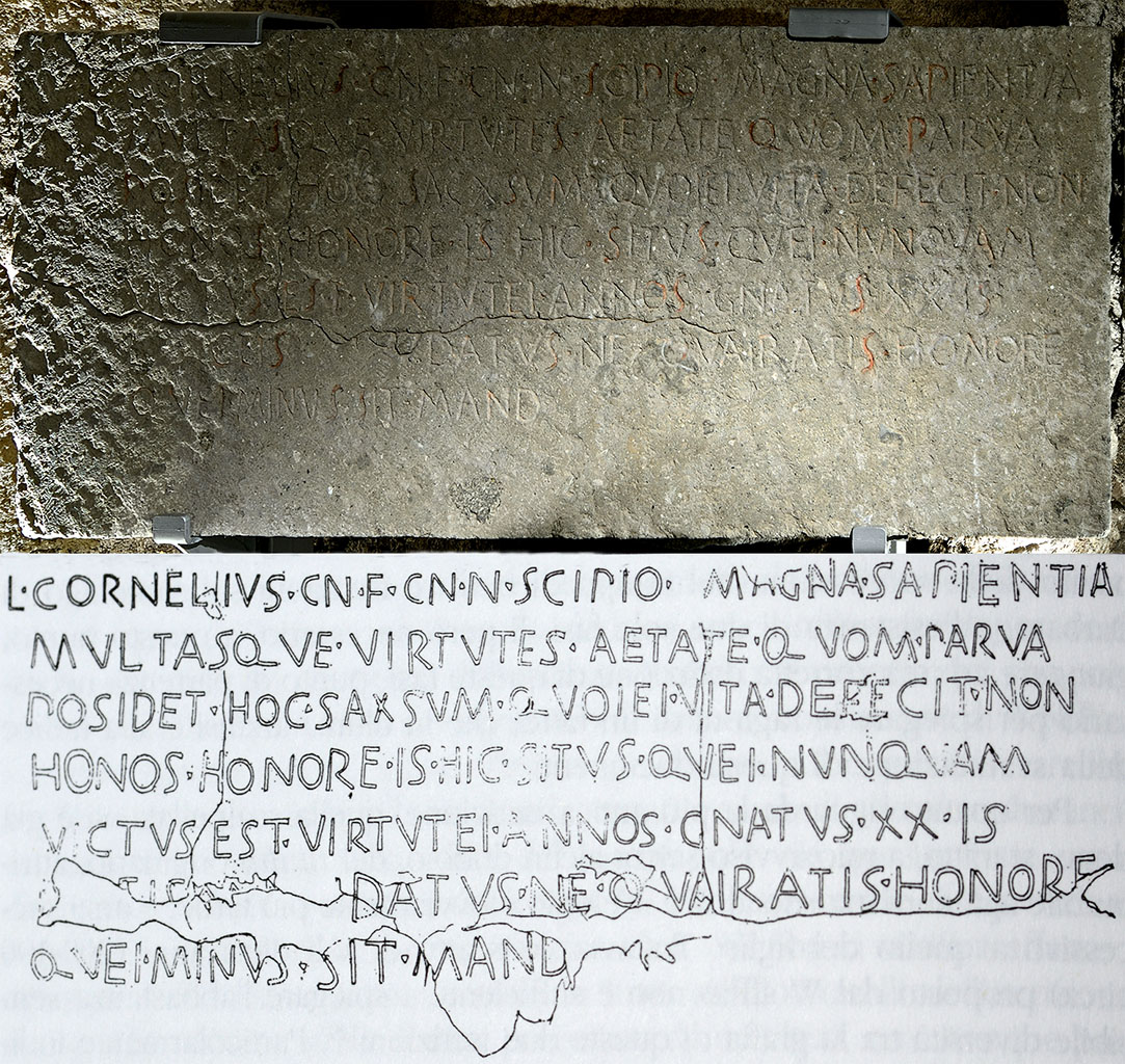 Inscription on the sarcophagus of Lucius Cornelius Scipio, son of Hispallus.  Rome, Tomb of the Scipios