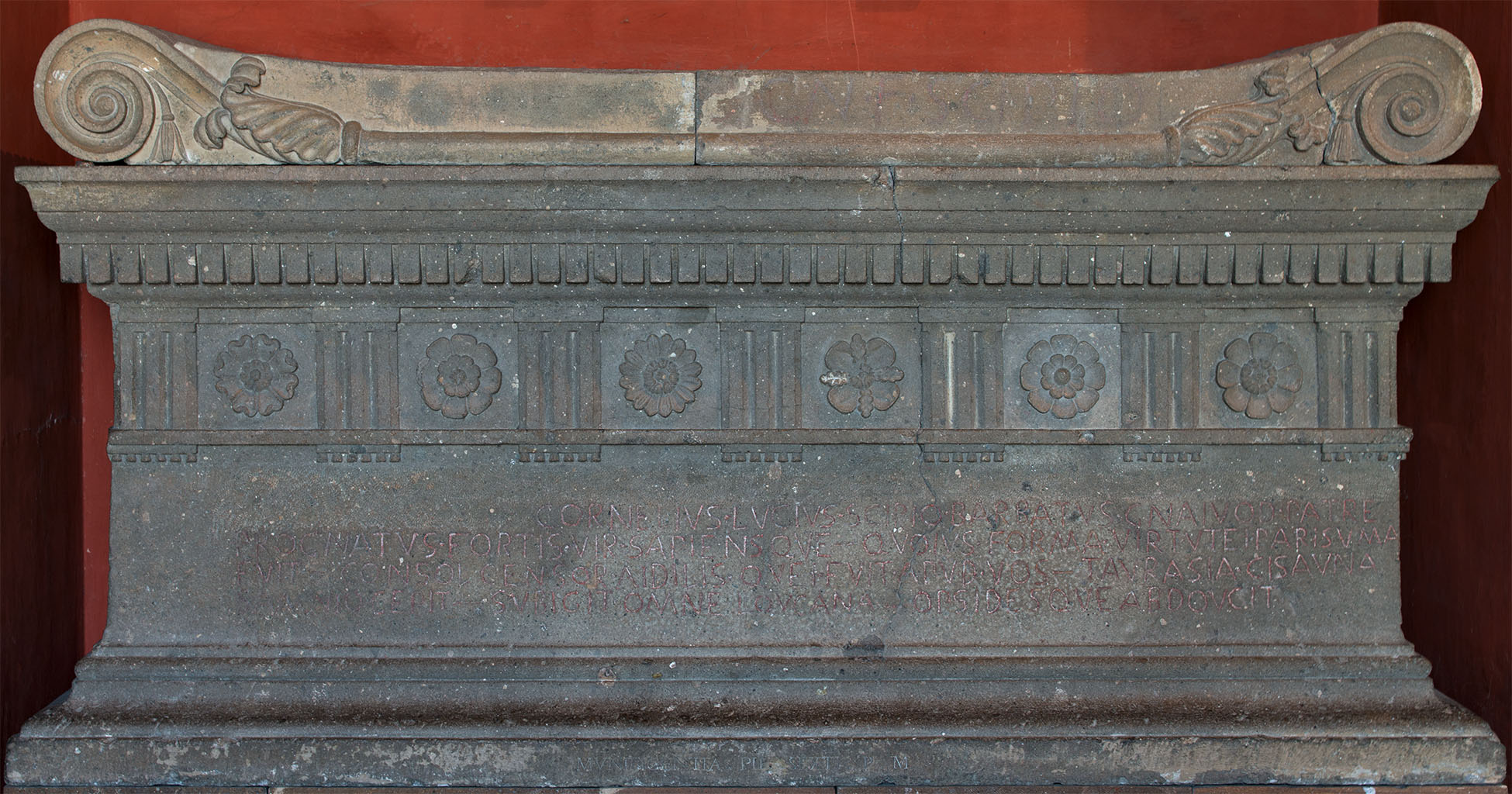 Sarcophagus of Lucius Cornelius Scipio Barbatus (original). The Tomb of the Scipios on the via Appia. Peperino. 280 BCE. Inv. No. 1191. Rome, Vatican Museums, Pius-Clementine Museum, Square vestibule, 5