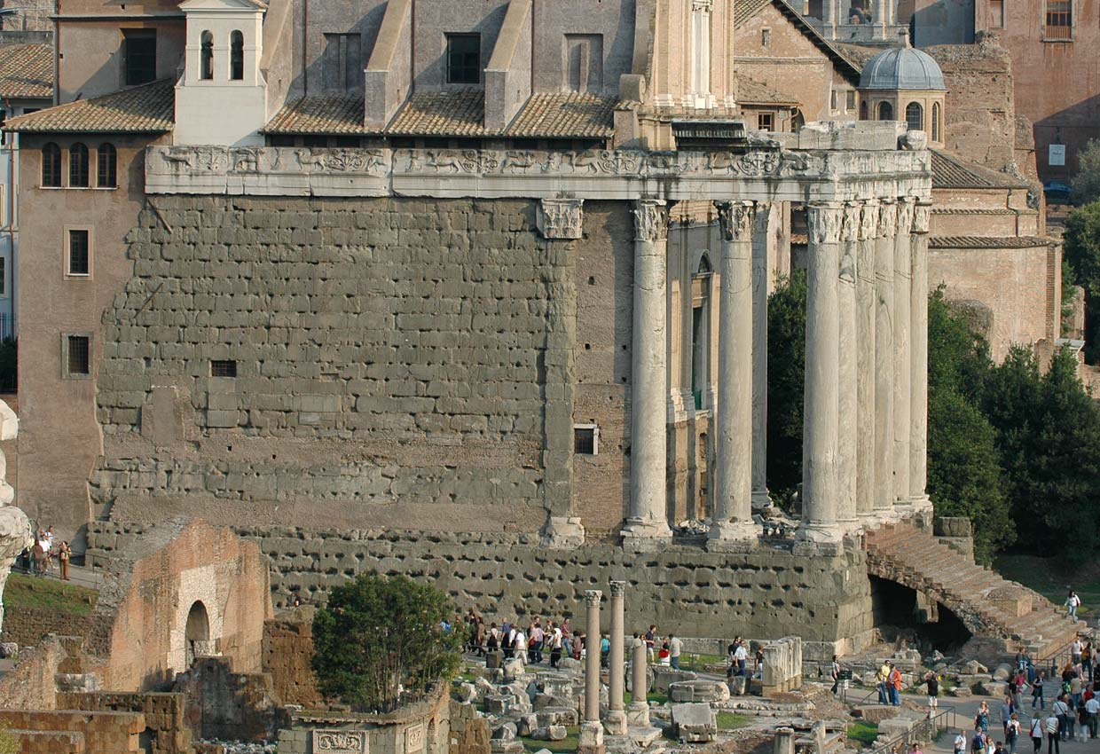 Temple of Antoninus and Faustina. View from Tabularium. 141 CE. Rome, Roman Forum