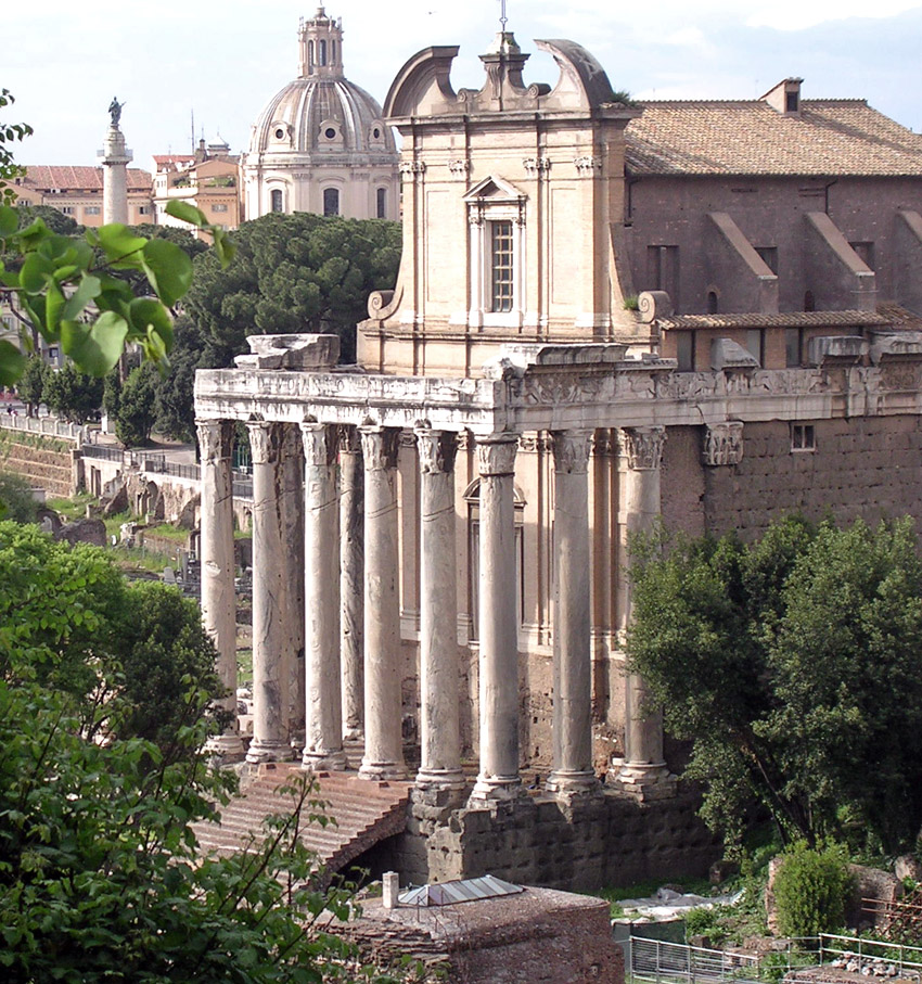 Temple of Antoninus and Faustina. View from Palatine. 141 CE. Rome, Roman Forum