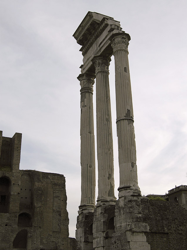 Remains of the temple of Castor (or Dioscuri).  Rome, Roman Forum