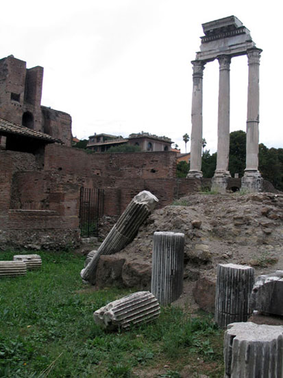 Temple of Castor and Pollux (temple of Dioscuri).  Rome, Roman Forum