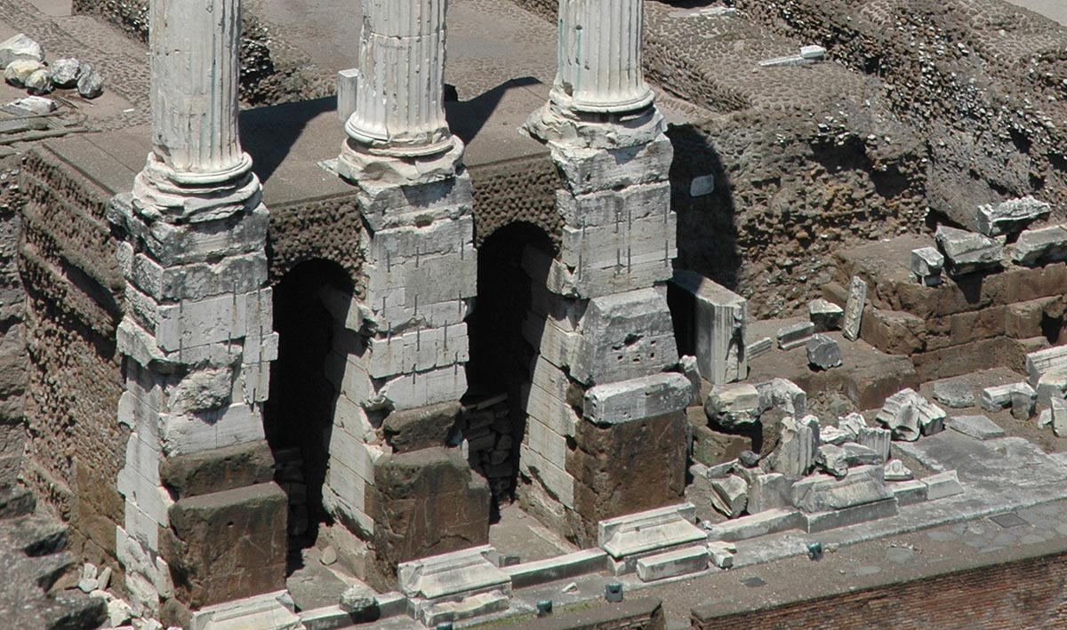 Remains of the temple of Castor (or Dioscuri). Foundation of the temple. Rome, Roman Forum