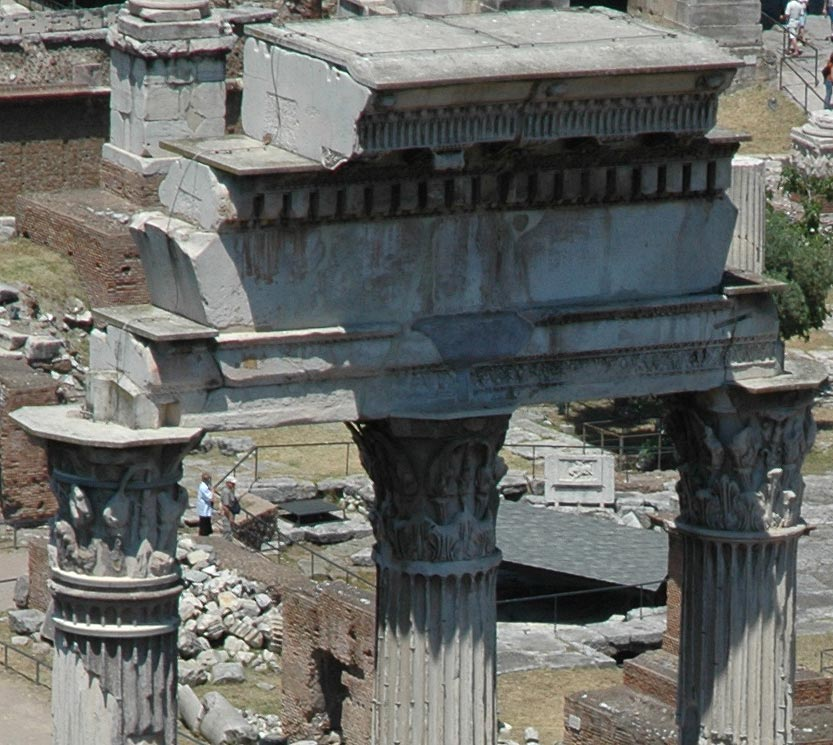 Remains of the temple of Castor (or Dioscuri). Capitals of the columns and the crowning cornice. Rome, Roman Forum