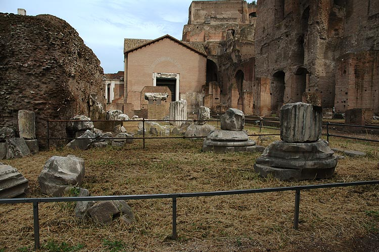 Remains of the temple of Castor (or Dioscuri). View from the side of Capitolium. Rome, Roman Forum