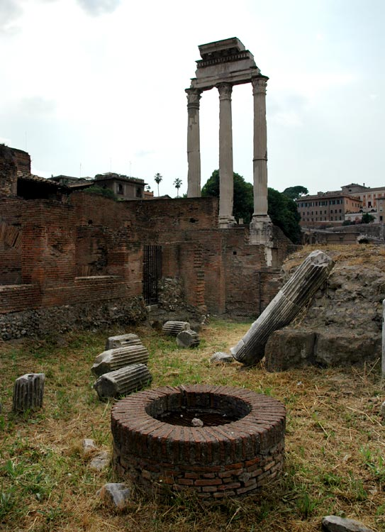 Remains of the temple of Castor (or Dioscuri). View from the side of the Temple of Vesta. Rome, Roman Forum