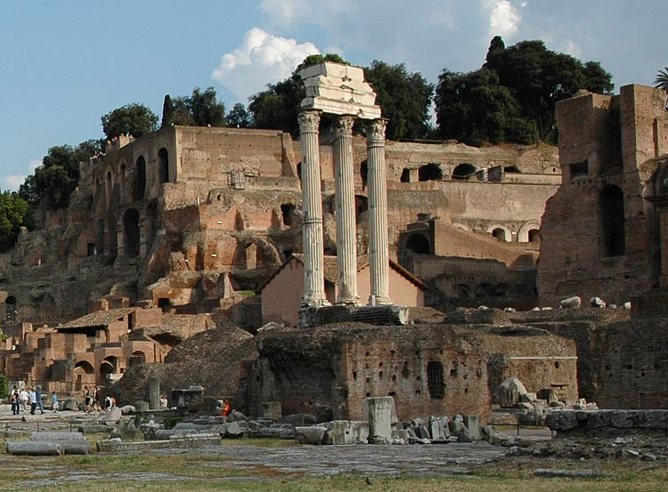 Remains of the temple of Castor (or Dioscuri). View from the side of the Via Sacra. Rome, Roman Forum