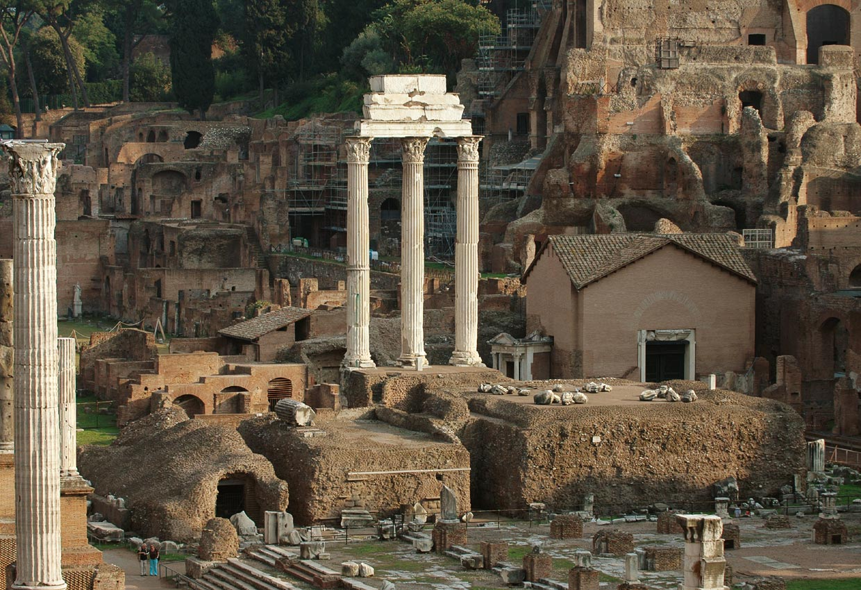 Remains of the temple of Castor (or Dioscuri). View from the Tabularium. Rome, Roman Forum