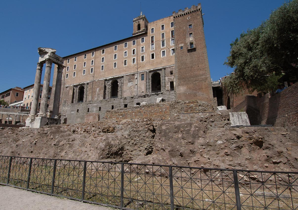 The temple of Concord. (The temple of Vespasian and Titus, the Tabularium). Rome, Roman Forum