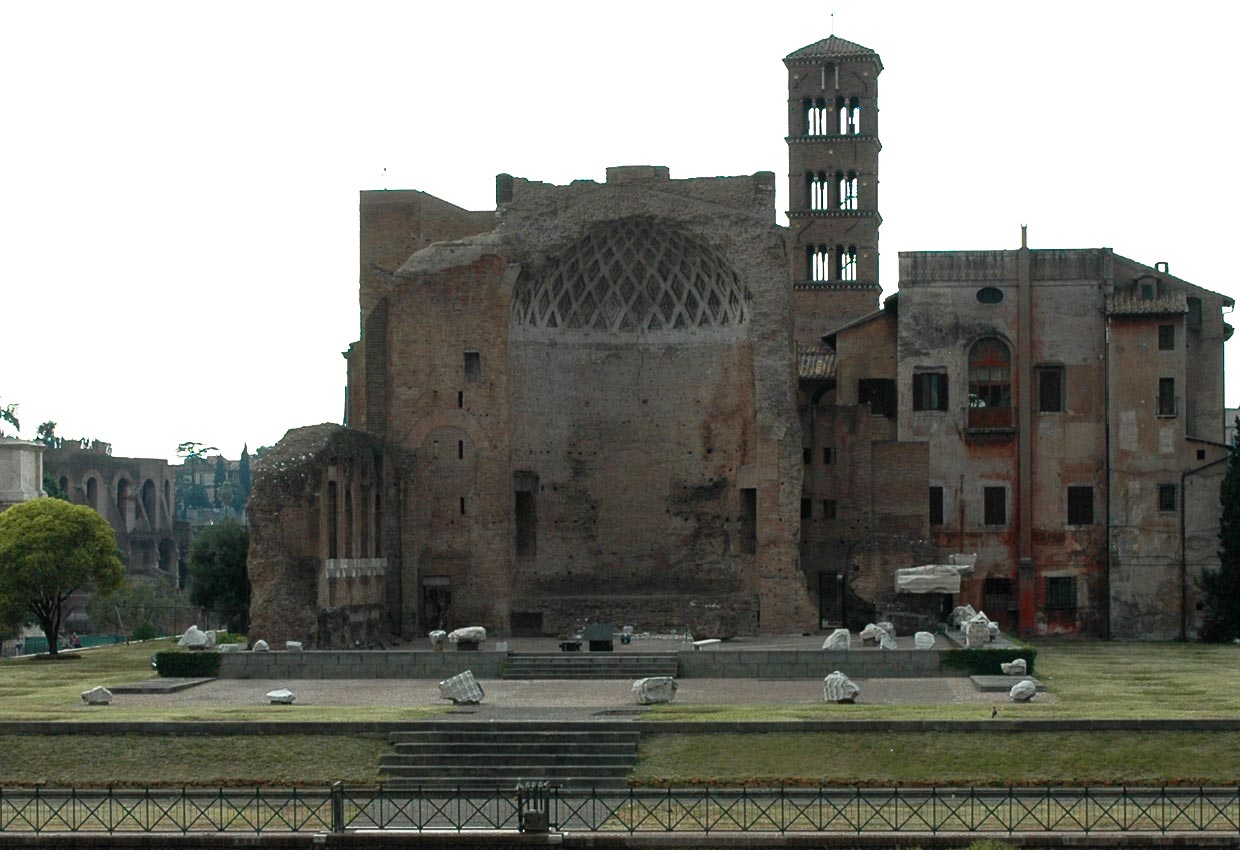 Temple of Venus and Rome. View from Coliseum. Rome, Roman Forum