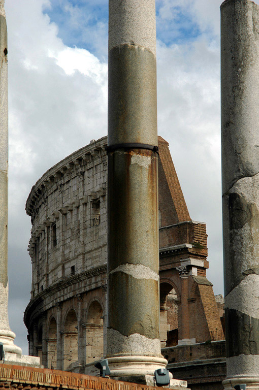Temple of Venus and Rome. View of the columns of the Temple from the side of Palatine. Rome, Roman Forum