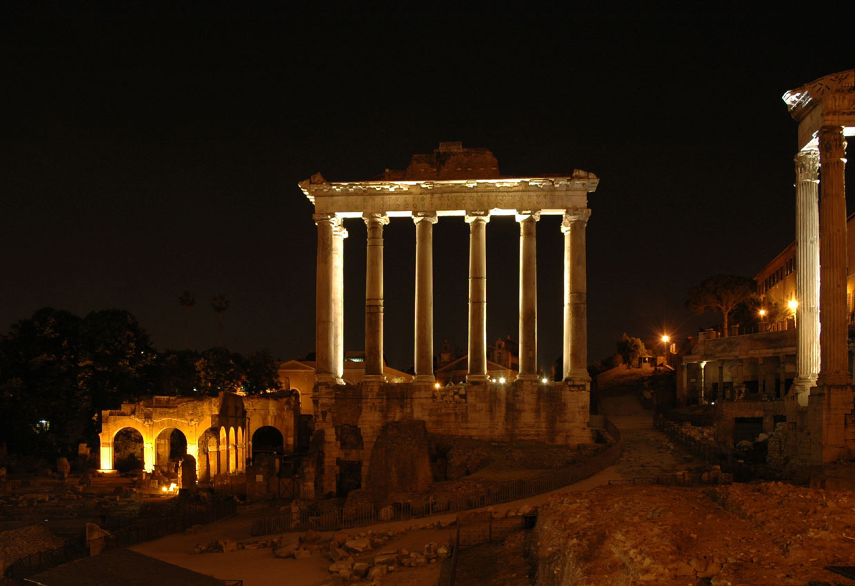 Temple of Saturn. Night view. Rome, Roman Forum
