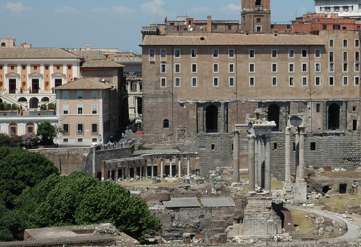 The temple of Saturn, Portico of the Dei Consentes, the temple of Vespasian and Titus, the Tabularium. View from the side of Palatine. Rome, Roman Forum