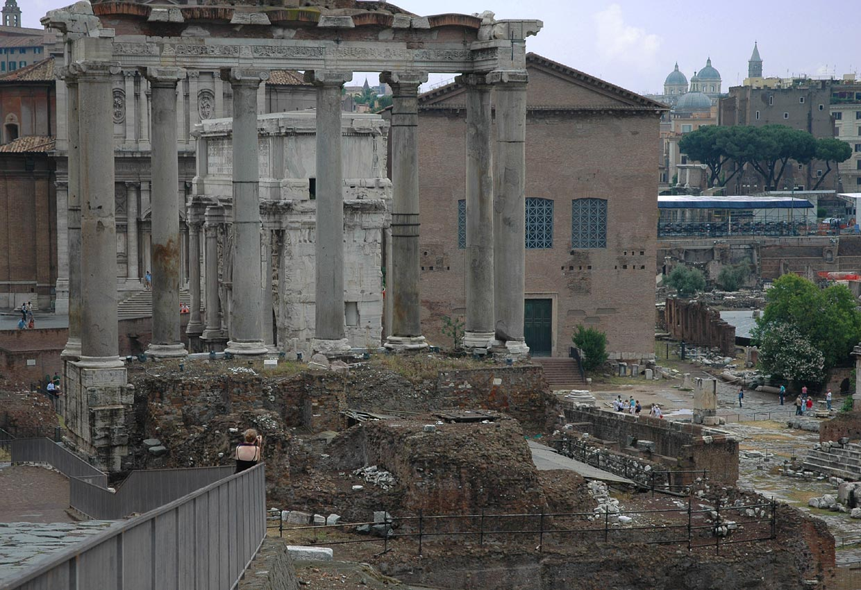 Temple of Saturn. View from the Clivus Capitolinus. Rome, Roman Forum