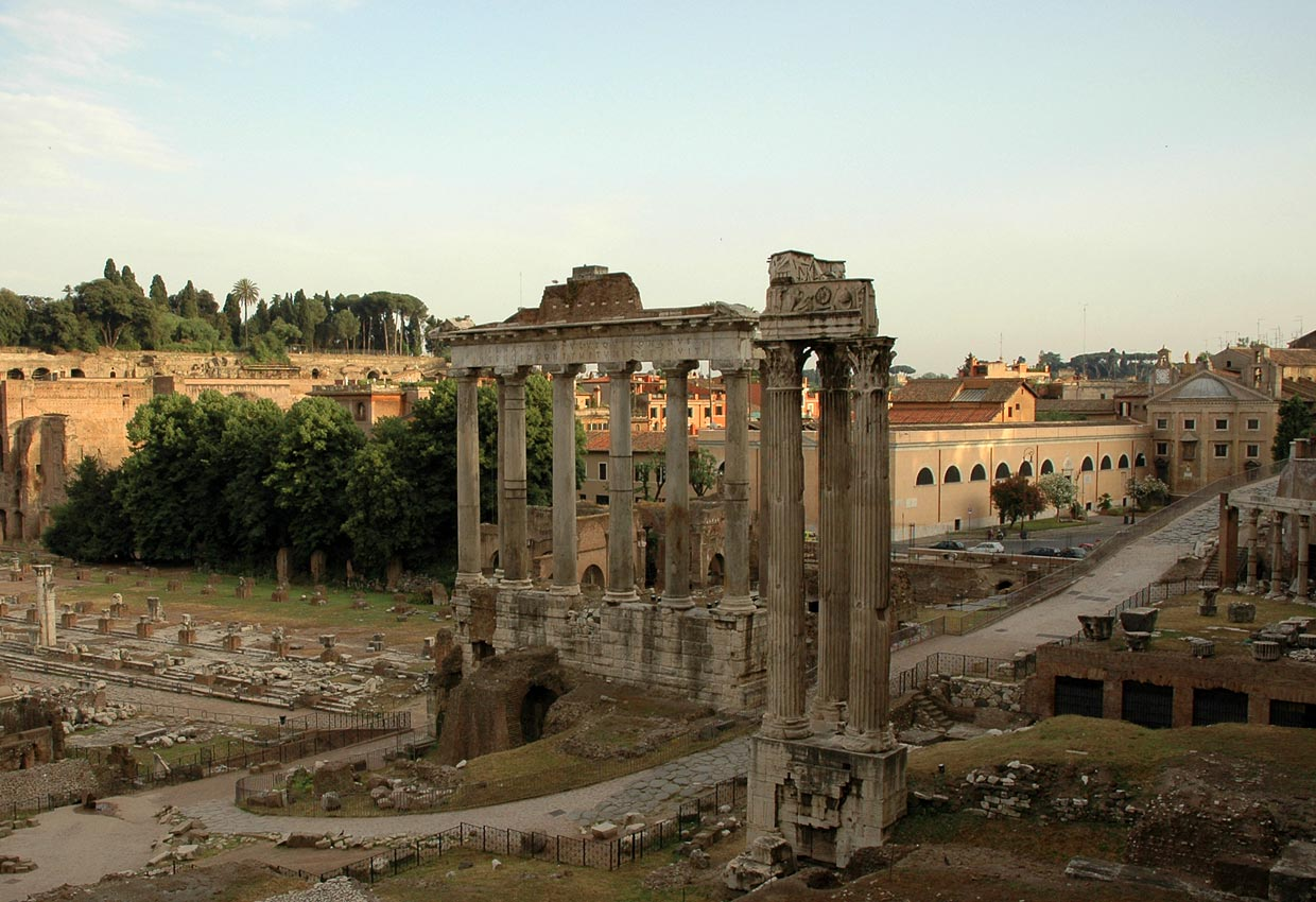 The temple of Saturn, the temple of Vespasian and Titus, Clivus Capitolinus.  Rome, Roman Forum