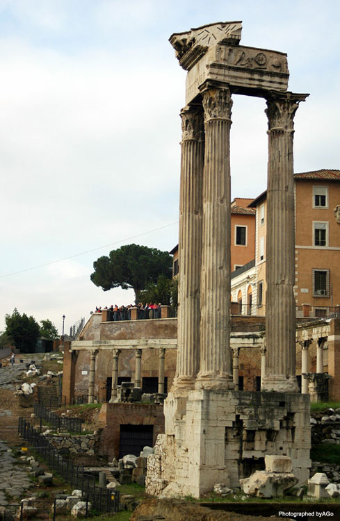 Temple of Vespasian and Titus.  Rome, Roman Forum