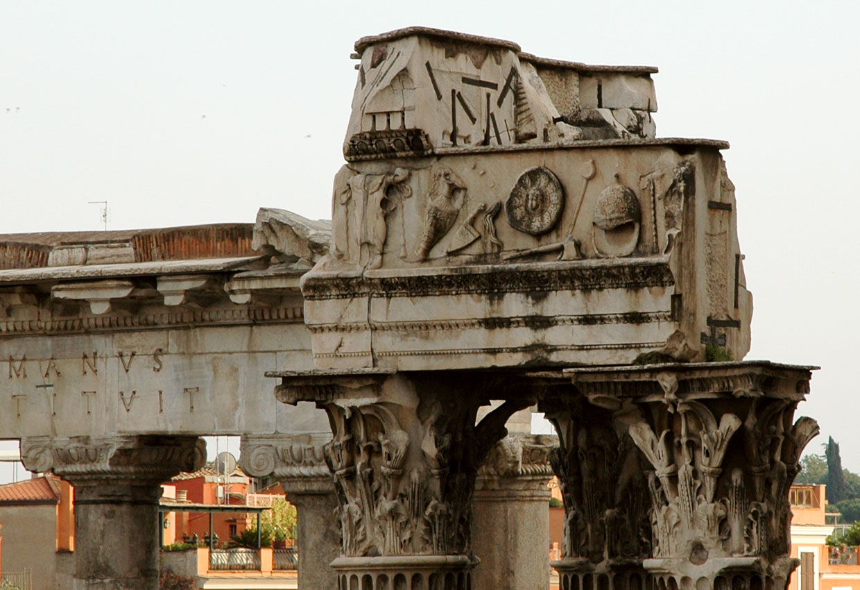 The temple of Vespasian and Titus. The architrave with the objects for sacrifice. Rome, Roman Forum