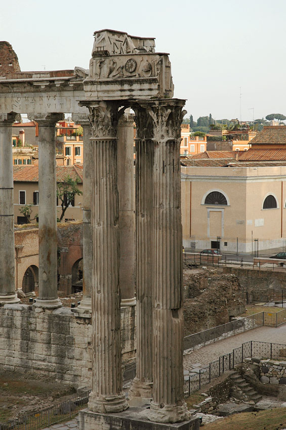 The temple of Vespasian and Titus.  Rome, Roman Forum