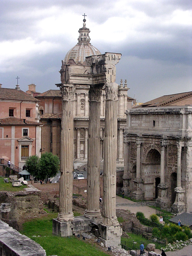 The temple of Vespasian and Titus. Ca. 87 CE. Rome, Roman Forum