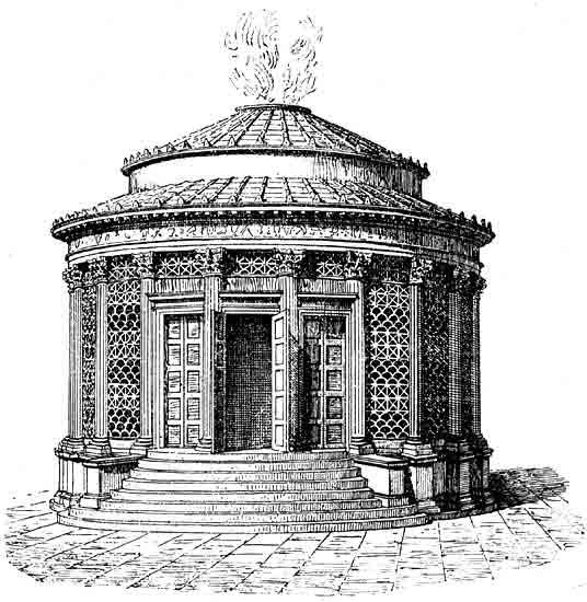 Reconstruction of the temple of Vesta.  Rome, Roman Forum