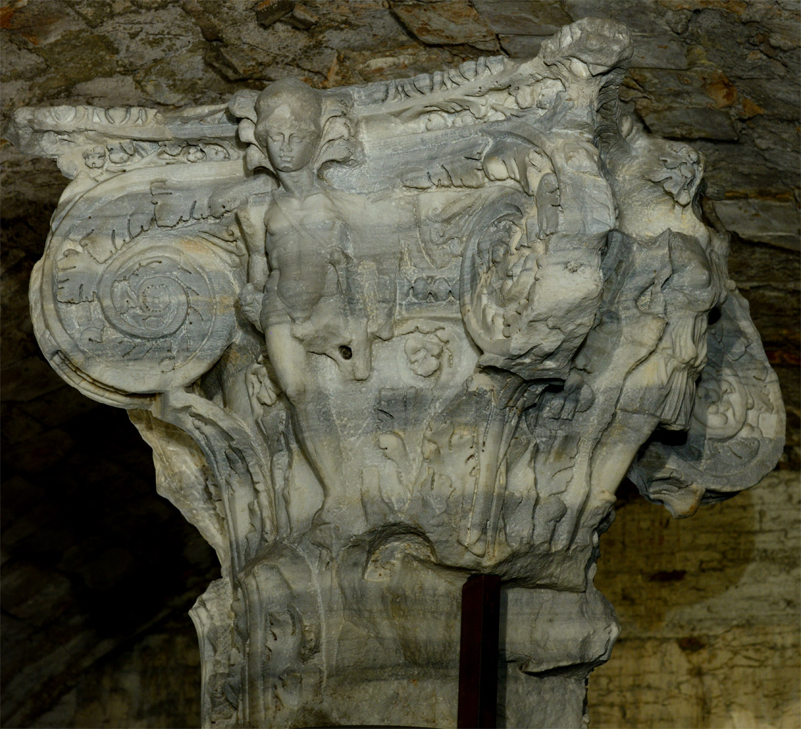 Capital. Marble. 212—216 CE. Rome, Baths of Caracalla, underground galleries
