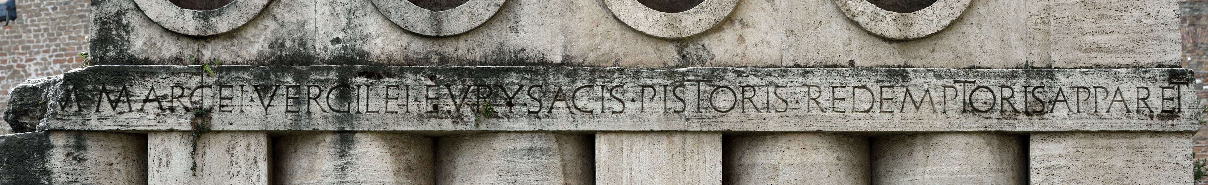 Tomb of Eurysaces. Inscription of the northern side. Late 1st century BCE. Rome, Tomb of Eurysaces