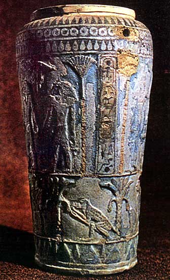 Situla from the tomb of Boccoris. Glass paste. 8th century BCE. Tarquinia, National Archaeological Museum