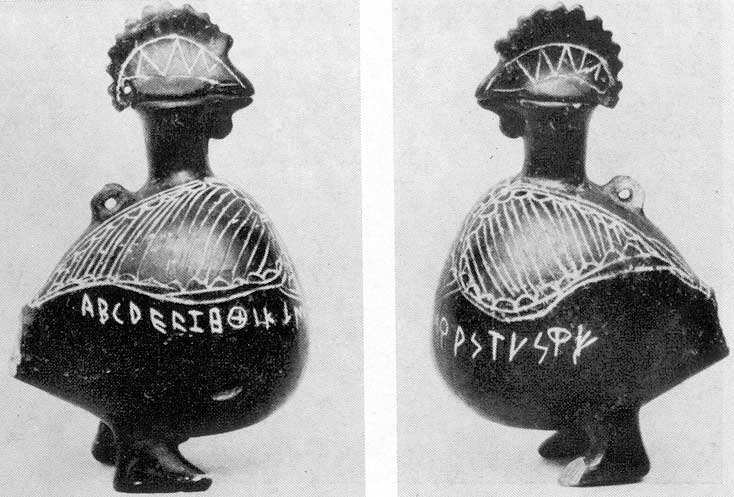 Figured vessel in the form of a cock with the scratched alphabet. Clay, buccero. 7th century BCE. Height — 0.11 m. New York, the Metropolitan Museum of Art