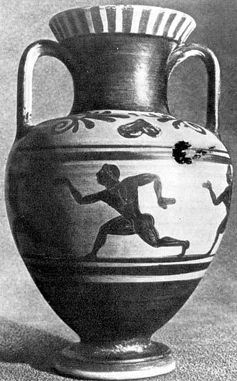 Vase with running figure. Black-figure amphora. By the Micali Group Painter. Clay. 6th century BCE. Tarquinia, National Archaeological Museum