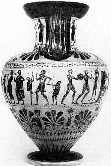 Procession of musicians, clowns, jugglers. Black-figure amphora with painting by the Micali Painter. Clay. 6th century BCE. London, The British Museum
