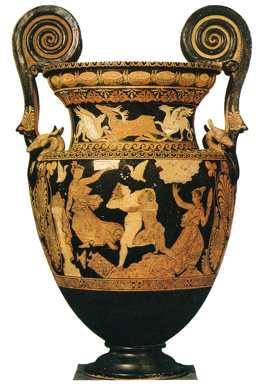 Peleus abducting bathing Thetida. Red-figure crater. Clay. Ca. 340 BCE. Rome