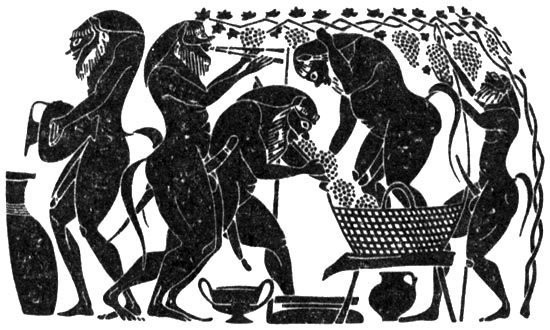 Silenuses, squeezing out grape juice to the sound of aulos. (from attic black-figure amphora of Amasis Painter, ca. 530 BCE).