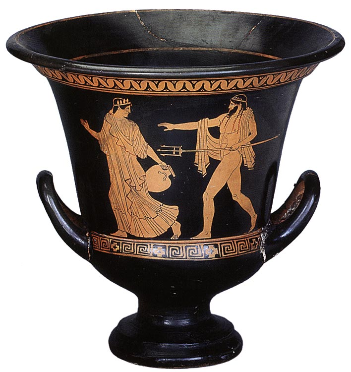 Poseidon and Amymone. Red-figure crater. By the Achilles Painter. Ca. 460 BCE. Height 25,7 cm.; diameter of rim 26 cm. Inv. Б. 191. Saint Petersburg, The State Hermitage Museum