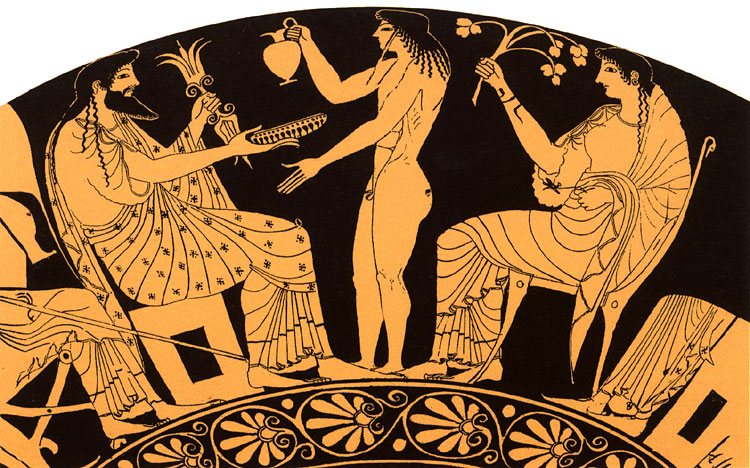 Hestia, Zeus and Ganymede. Painting of red-figure kylix by Oltos. Ca. 510 BCE. Tarquinia, National Archaeological Museum