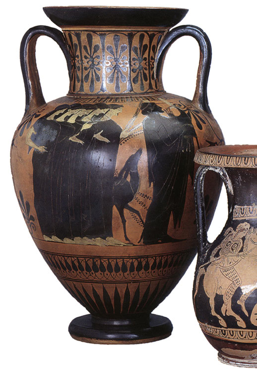 Apollo and muses; warriors. Black-figure amphora. Attic. By the Leningrad Painter 1488. Clay. Carving, purple, white paint. Ca. 500 BCE.  Inv. No. Б. 164. Saint Petersburg, The State Hermitage Museum