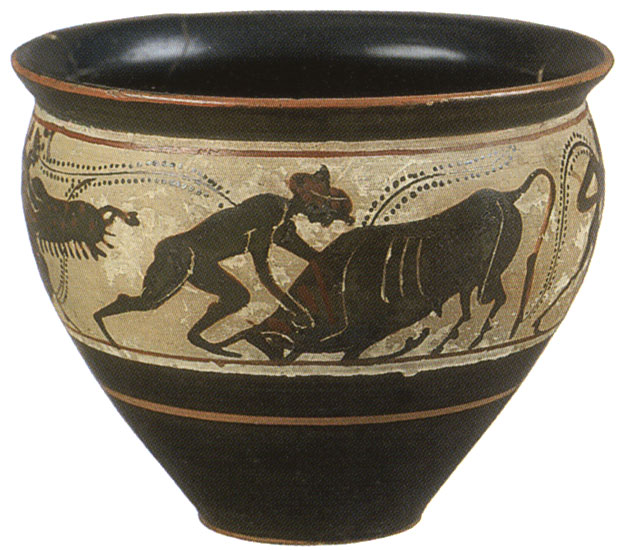 Heracles-Theseus and the Cretan bull. Black-figure mastoid. Attic. Manner of the Haimon painter. Clay. 490—480 BCE.  Inv. No. Б. 4220. Saint Petersburg, The State Hermitage Museum