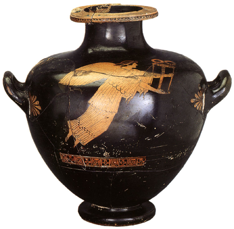 Nike with tripod. Red-figure hydria-kalpis. Attic. By Eucharides. Clay; purple, dilute varnish. 485—480 BCE.  Inv. No. Б. 2604. Saint Petersburg, The State Hermitage Museum