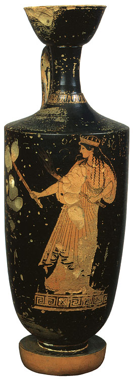 Artemis-Hecate. Red-figure lekythos. Attic. By the Pan Painter. Clay. Ca. 480 BCE.  Inv. No. Б. 3368. Saint Petersburg, The State Hermitage Museum