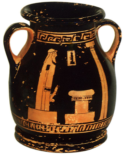 Herm of Pan. Red-figure pelike. Attic. By the Bowdoin Painter. Clay. 480—475 BCE. Height 10.6 cm, diameter of rim 6.9 cm. Inv. No. Б. 4515. Saint Petersburg, The State Hermitage Museum