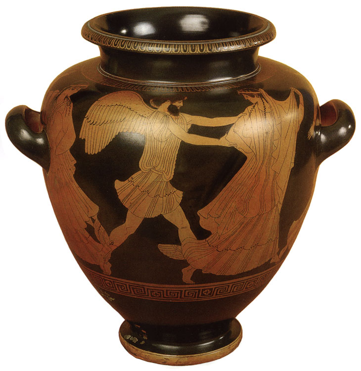 Boreas and Orithyia. Red-figure stamnos. Attic. By the Hermonax Painter. Clay. Ca. 470 BCE. Height 35.1 cm, diameter of rim 18 cm, diameter of prop 13 cm. Inv. No. Б. 2070. Saint Petersburg, The State Hermitage Museum