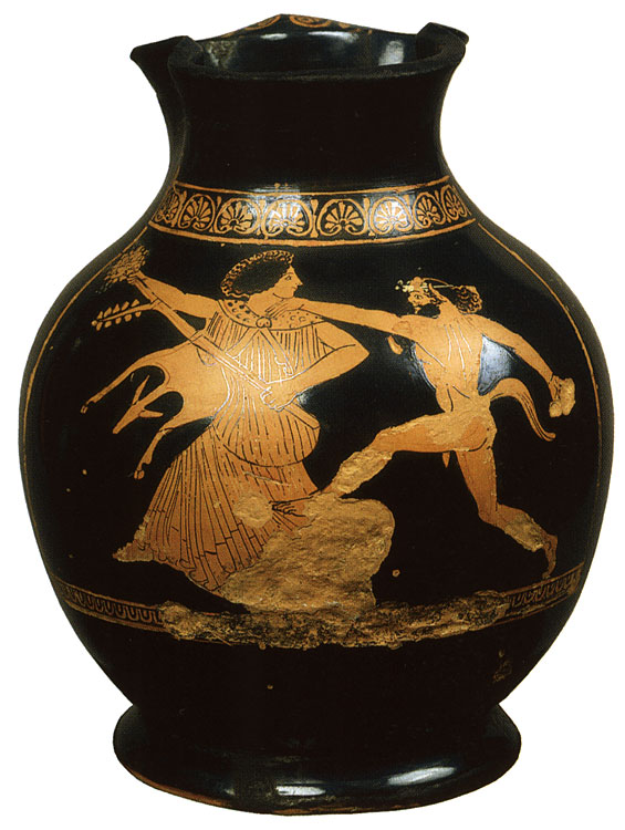 Satyr and maenad. Red-figure oinochoe. Attic. By the Amphitrite Painter. Clay. Ca. 470 BCE. Height 23 cm, diameter of rim 10.3 cm, diameter of prop 12.5 cm. Inv. No. Б. 6784. Saint Petersburg, The State Hermitage Museum
