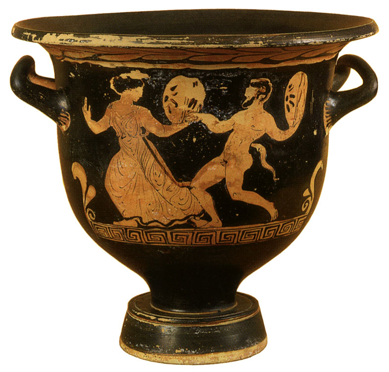 Satyr and maenad. Red-figure krater. Attic. By the Lecce Painter. Clay. 390—380s BCE. Height 33.1 cm, diameter of rim 35.2 cm, diameter of prop 14.5 cm. Inv. No. Б. 1157. Saint Petersburg, The State Hermitage Museum