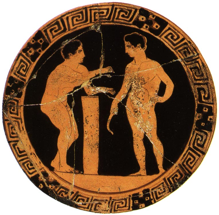 Two athletes. Red-figure kylix. Attic. By the London Painter E106. Clay. Late 5th century BCE. Height 10.5 cm, diameter 32 cm. Inv. No. Б. 4526. Saint Petersburg, The State Hermitage Museum