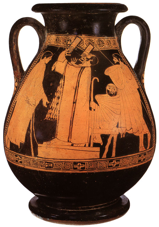 Competition of musicians. Red-figure pelike. Attic. By the Argos Painter. Clay. Ca. 480 BCE. Height 36 cm. Inv. No. Б. 1570 (St. 1603, Б. 614). Saint Petersburg, The State Hermitage Museum