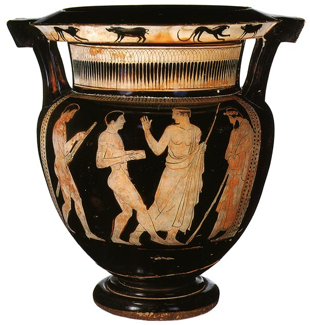 Athlete with weights and the paidotribe. Red-figure column crater. Attic. The Painter of the Centauromachia in the Louvre. Clay. 450 BCE. Height: 40.3 cm. Diameter: 39 cm. Inv. no. Б. 1603 (St. 1590, Б. 802). Saint Petersburg, The State Hermitage Museum