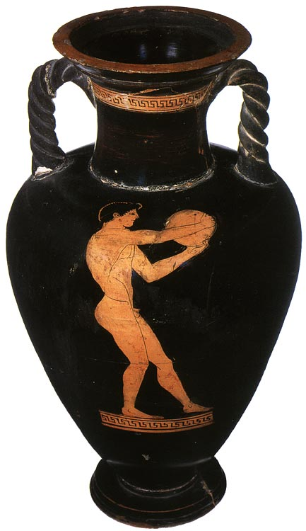 Athlete with discus. Red-figure amphora (with twisted handles). Attic. By the Kleophrades Painter. Clay. 490—480 BCE.  Inv. no. Б. 1852 (St. 1669, Б. 613). Saint Petersburg, The State Hermitage Museum