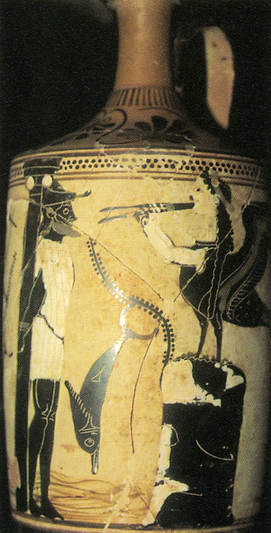 Odysseus listening to the singing of sirens. Red lekythos. Clay. Ca. 500 BCE. Athens, National Archaeological Museum