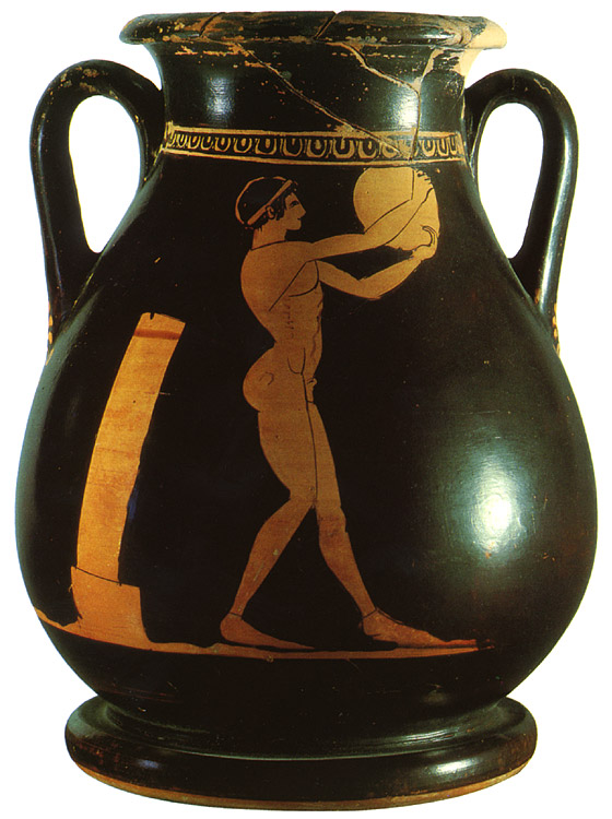 Athlete with discus. Red-figure pelike. Attic. By the Geras Painter. Clay. 490—480 BCE.  Inv. No. IV. 905. Vienna, Museum of Art History, Collection of Classical Antiquities